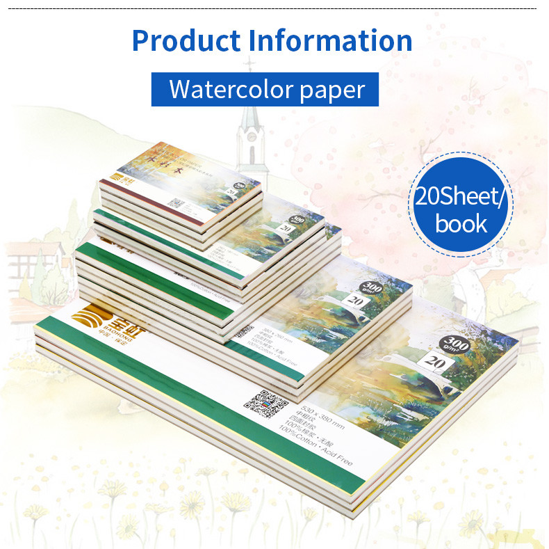 Professional Watercolor Paper 20Sheets Hand Painted Water Book For Artist Student Art Supplies