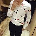 Outono dos homens longo-sleeved camisa Personalizada camisa Magro ocasional Negócio de impressão de vestuário de moda homens de alta qualidade Camisa Trecho