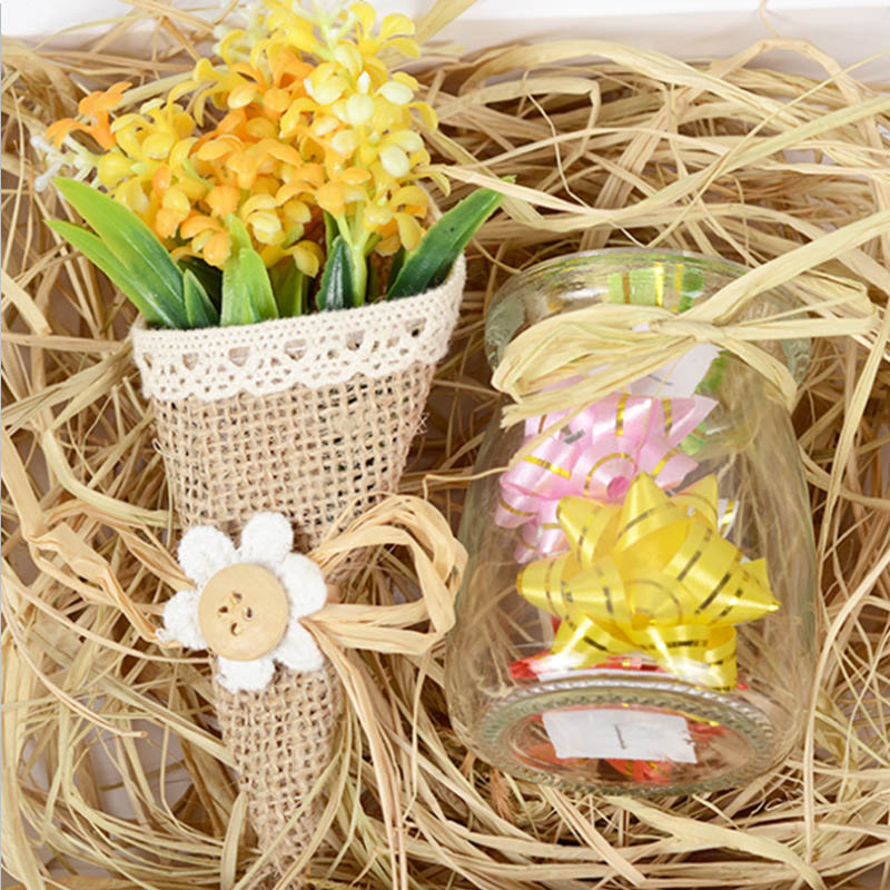 Paper Rope Red Wine Bouquet Gift Box Wedding Party Decoration Natural Plant Grass Sugar Packing Crinkle Cut Paper