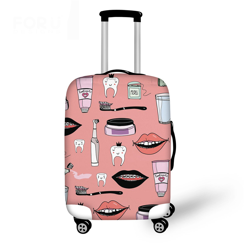 Pink Women Suitcase Elastic Luggage Case Cover Dentist Printing Protective Baggage Bag Thick Travel Trolley Covers