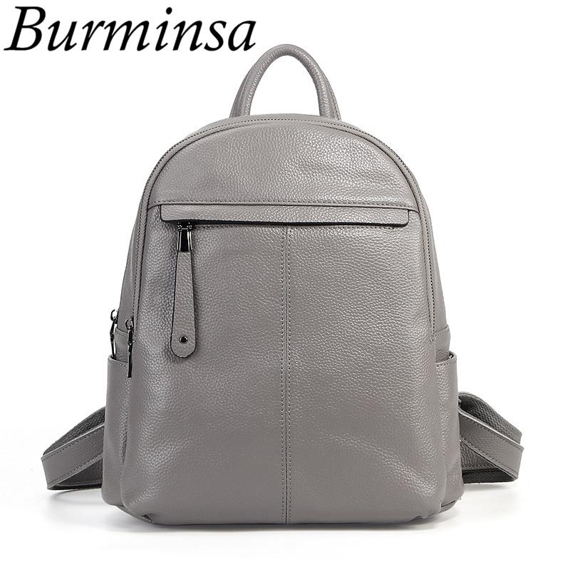 Burminsa Brand Real 100 Genuine Leather Backpack School Bags For Teenage Girls Small Women Travel Bags