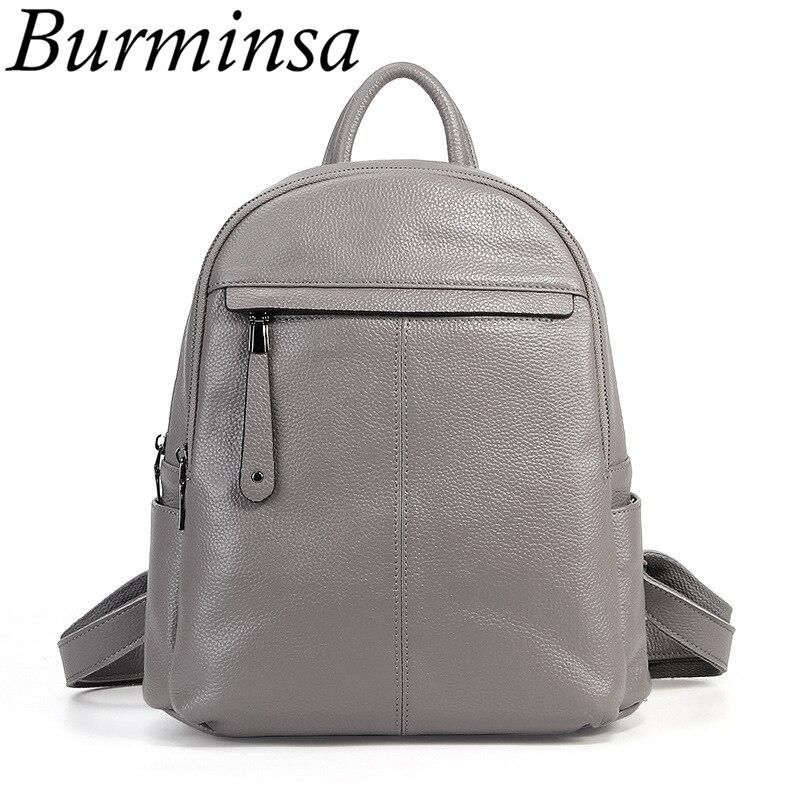 Burminsa Marke Echt 100% Echtem Leder Rucksack Schule Taschen Für Teenager Mädchen Kleine Frauen Reisetaschen Pack Mochila Feminina-in Rucksäcke aus Gepäck & Taschen bei  Gruppe 1