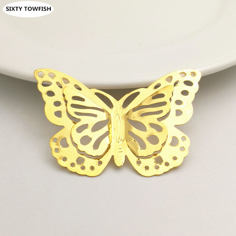 10 Pcs/lot 35x50mm Gold Color/White K Metal Filigree Flowers Slice Butterfly Charms Jewelry DIY Components Findings B1071702