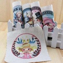 Zakka mão tingido 5 assorted cotton linen impresso quilt tecido para diy costura patchwork home textile decor 15×15 cm princesinha