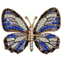 Alta Qualidade Jóias Rhinestone Borboleta Broches Pinos Acessórios Colar de Moda Feminina Presente de Casamento Brosche XZ023