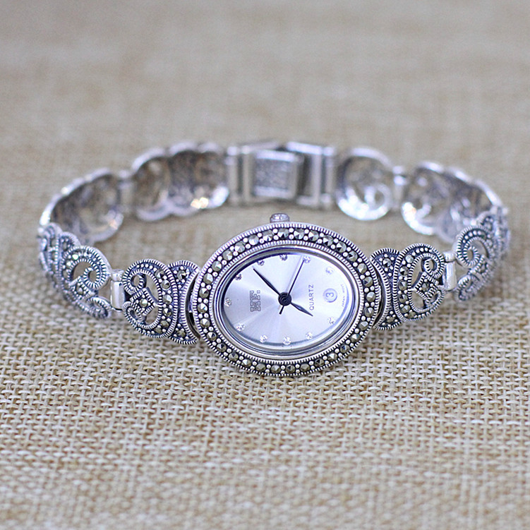 New Limited Edition Classic Elegant S925 Silver Pure Thai Silver Bracelet Watches Thailand Process Rhinestone Bangle Dresswatch nokia 6700 classic gold edition