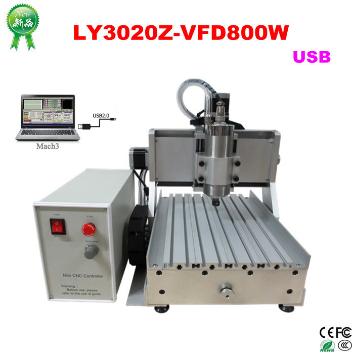 Russia free tax NEW cnc router LY 3020Z-VFD800W Spindle Motor USB 3Axis CNC lathe Machine 3d cnc wood carving router russia tax free cnc woodworking carving machine 4 axis cnc router 3040 z s with limit switch 1500w spindle for aluminum