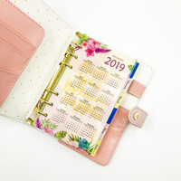 Fromthenon Pink Marble Faux Leather Cover Notebook And Journal 2019 Schedule Diary Planner 6 Holes Daily School Gift Stationery