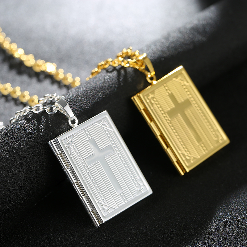 SONYA Holy Bible Cross Locket Necklace Silver/Gold Color Jewelry Memory Photo Locket Necklaces Pendants For Women/Men Gift locket