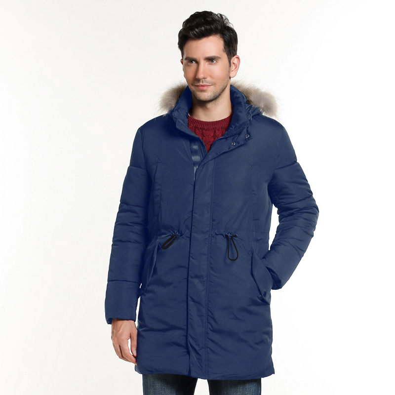 купить HEE GRAND 2017 Winter New Men 's Cotton Thickening Hooded Cotton Jacket With  Fur Collar Long Style 3 Colors L~3XL MWM1813 недорого