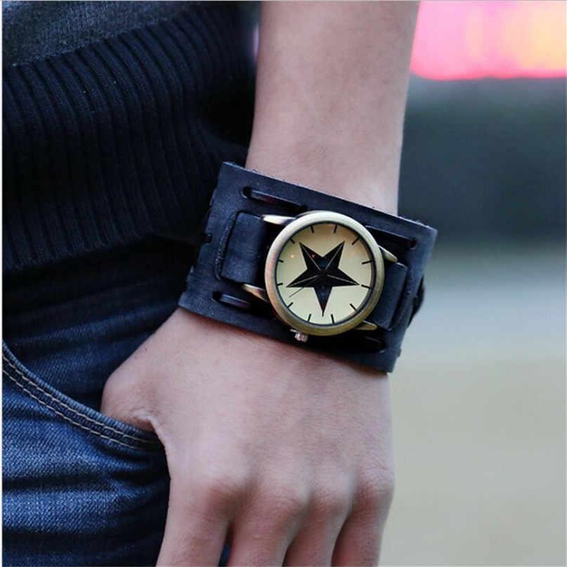 Relogio Masculino نمط جديد ريترو الشرير الصخرة براون كبير واسعة جلدية أساور زينة ساعة رجالية كول #4A23
