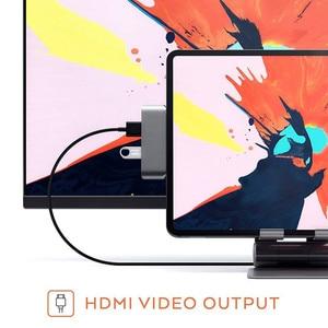 Image 2 - USB C HUB For iPad Pro 2018 Type C Audio Adapter Mobile Pro Hub with USB C PD Charging 4K HDMI USB 3.0 3.5mm Headphone Jack