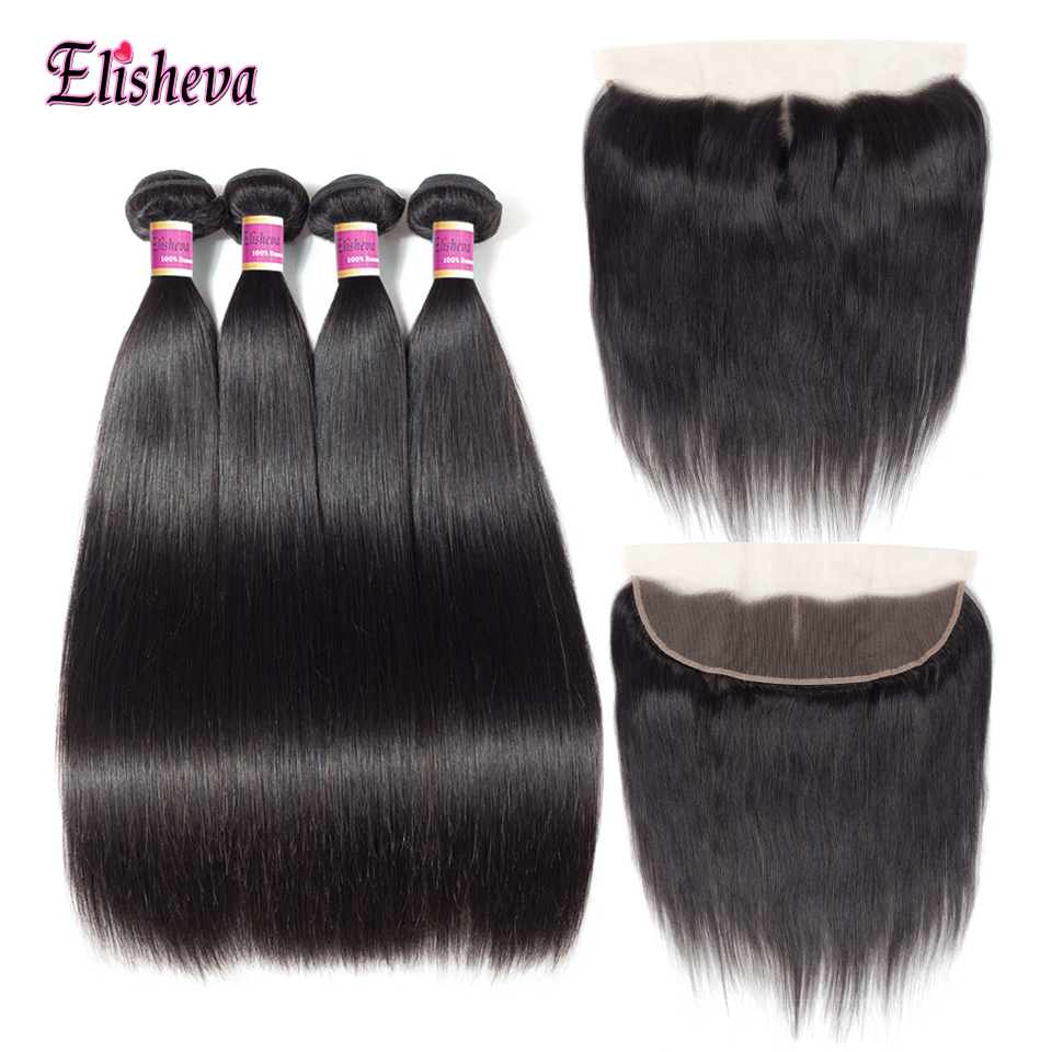 Elisheva Peruvian Hair Deep Wave Bundles With 360 Frontal 100% Human Hair Bundles With 360 Closures Non Remy Hair Extensions Human Hair Weaves 3/4 Bundles With Closure