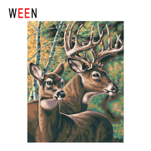 WEEN Forest Diy Painting By Numbers Abstract Deer Oil On Canvas Animal Cuadros Decoracion Acrylic Wall Art Home Decor
