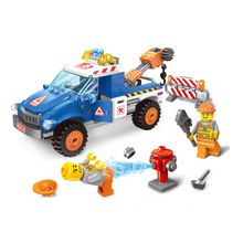 City Series Road Wrecker car Compatible Enlighten Building Blocks children Educational Bricks minis Toys 1109 lepin 02015 456pcs city series train station car styling building blocks bricks toys for children gifts compatible 60050