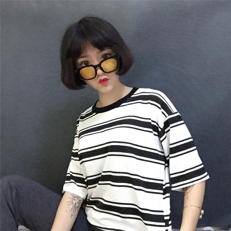2019 college harajuku lose striped t shirt frauen kurzarm hit farbe - Damenbekleidung - Foto 6