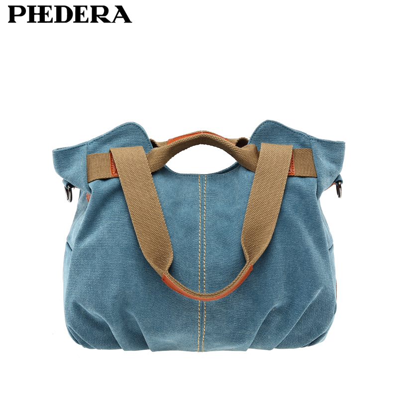 Phedera Hot High Quality Women Canvas Shoulder Bags Casual Female Bag Vintage Women Messenger Bags Blue Leisure Woman Pouch new 2016 women bag vintage canvas handbags messenger bags for women handbag shoulder bags high quality casual bolsa l4 2669