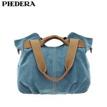 Phedera Лидер продаж высокое качество Для женщин холст Сумки на плечо Повседневная Женская обувь сумка Винтаж Для женщин Курьерские сумки синий для отдыха женщина чехол
