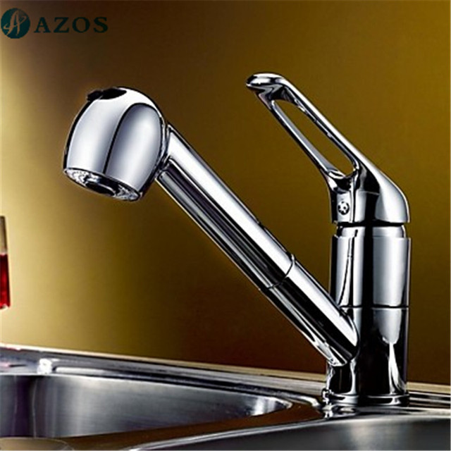 Kitchen Sink Faucets Swivel Hose Shower Head Pull Out Down Spout ...