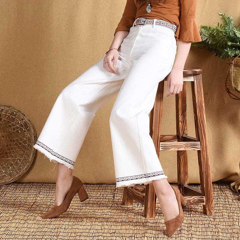 Vintage High Waist Women Jeans Casual Fashion Straight Trousers Female Brief   Pants   Pantalon Femme Women Denim   Wide     Leg     Pants
