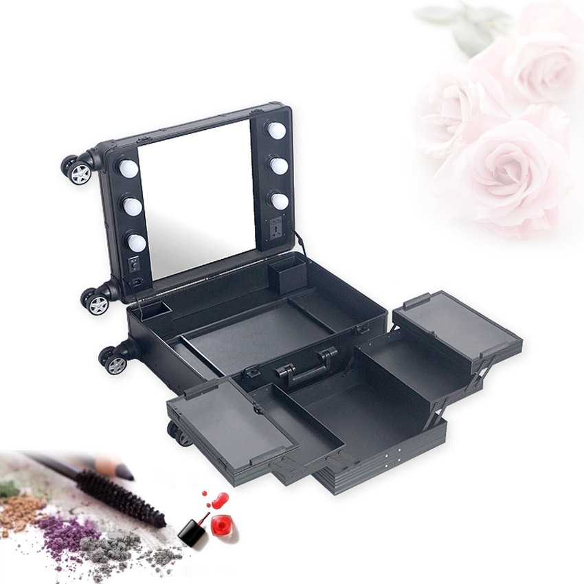 Professional Aluminum makeup case with LED lights and removable wheels without legs