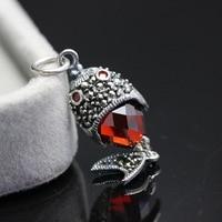 silver jewelry wholesale 925 sterling silver inlaid garnet red zirconium fish pendant pendant retro Silver Pendant