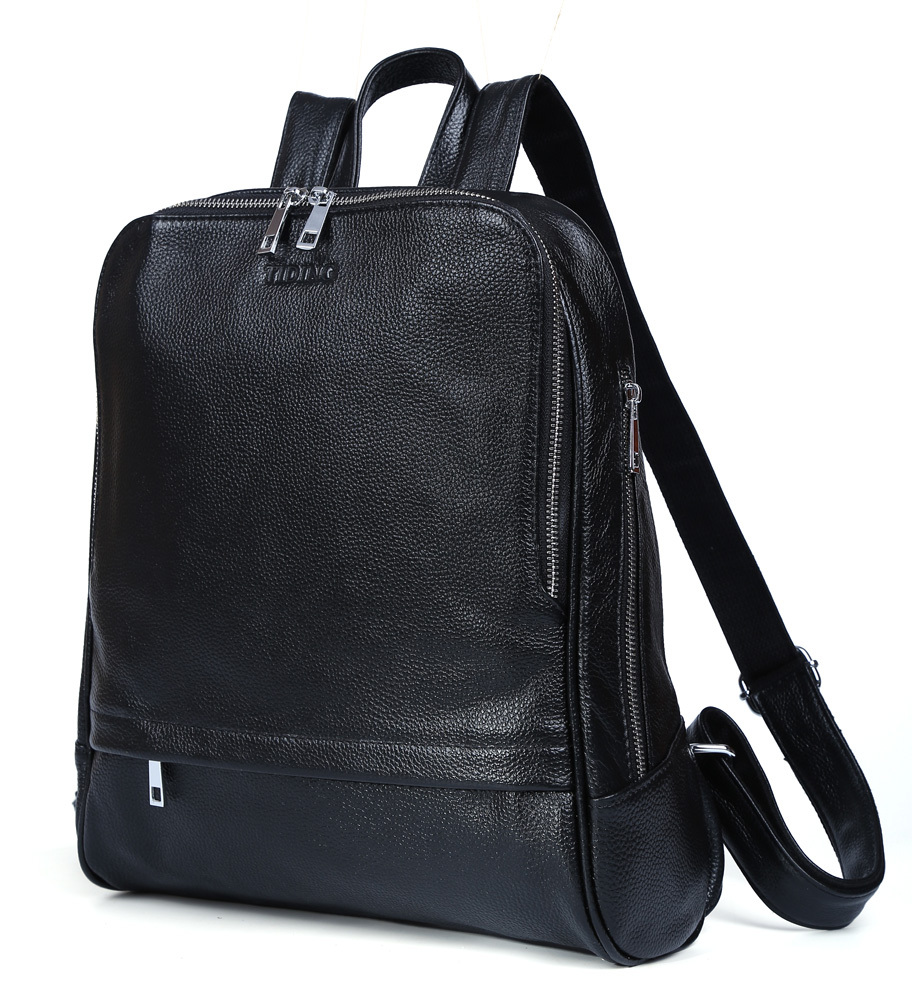 Tiding New Real Leather College School Backpack For Boys Girls Fashion Black Bag for Macbook 3125