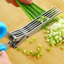 Cuchillos de Cocina de Acero Inoxidable multifuncional 5 Capas Tijeras Sushi Destrozado Scallion Cortar Hierba Especias Tijeras Herramientas de Cocina