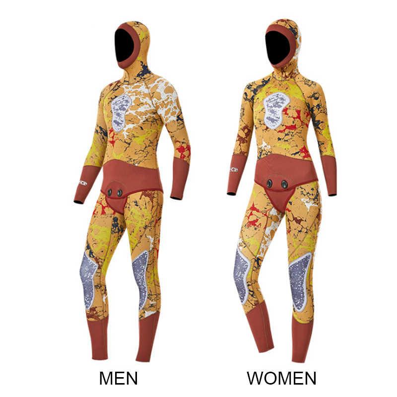 Мужской Двойной Теплый Профессиональный 3 мм 2 шт неопреновое оборудование для ныряний Камуфляжный гидрокостюм с капюшоном молния Сплит спиральная Рыбалка женский костюм