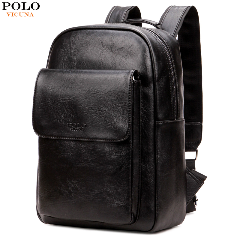 VICUNA POLO Brand PU Leather Backpack For Men Korean Style Student Back Pack For School Bags New Large Capacity Mens Bag mochila twenty four women backpack real genuine leather back pack casual korean style lady travelling bag zipper luxury brand mochila