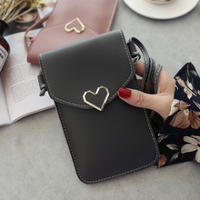 Women Bag For Phone 2018 Women Coin Purse Cross Shoulder Bag For Girls Cute Phone Bag Mini Heart type Hasp Mobile Pouch