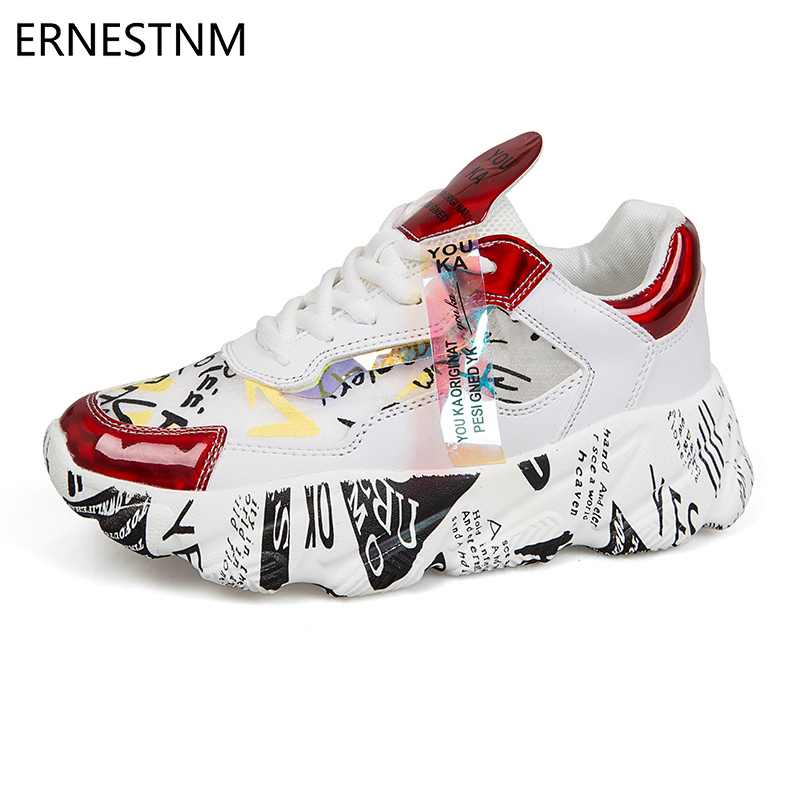ERNESTNM 2019 NEW Women Chunky Sneakers Platform Autumn Shoes Sequined Casual Bling Female Red Dames Dad Shoe Zapatillas Mujer