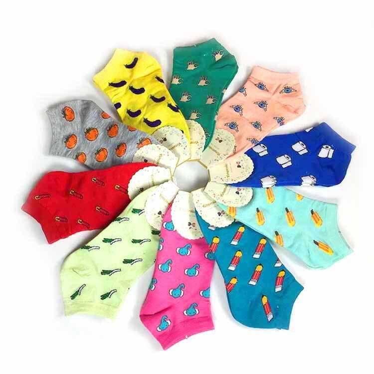 Spring Summer Women Socks  Color Fashion Wild Shallow Mouth Invisible Socks Felmen Slipper Socks
