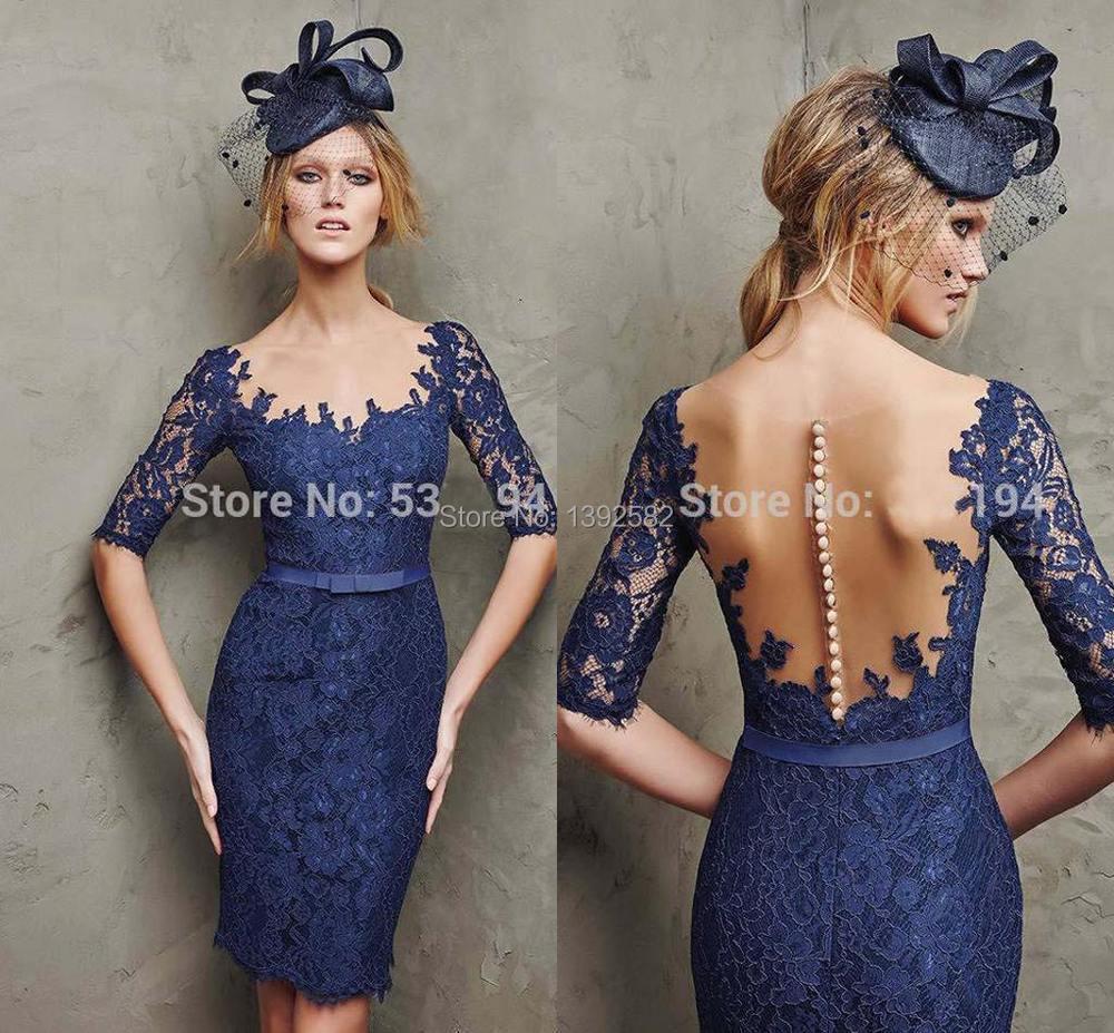 Vestido de festa curto na cor azul