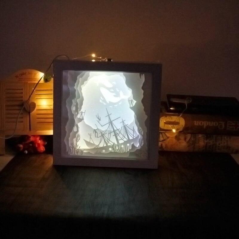 Papercut Light Box LED USB Night Light Lamp Creative Paintings Whale papercut light box led usb night light