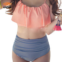Retro High Waist Falbala Swimwear Women New 2017 Ruffle Vintage Bikinis Swimsuit Bandage Striped Bottom Cute