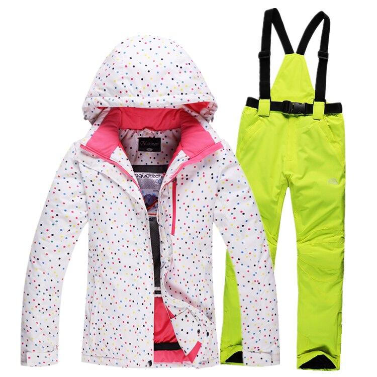 Prix pour Haute qualité Livraison gratuite femmes ski veste + pantalon chaud respirant coupe-vent d'hiver combinaison de ski en plein air ski costume épaississement