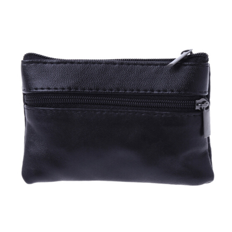 Soft Men Women Card Coin Key Holder Zipper Leather Wallet Pouch Bag Purse Gift New Fashion Black Mini Coin Holders