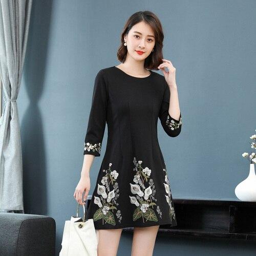 Broderie Noir Élégant Genou Robes Lady longueur Tempérament Coréen Femmes Mode Robe Printemps Office Femme Et Automne AKzfqISF