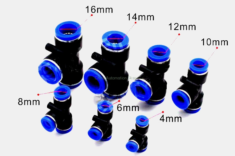 10Pcs T Type Pneumatic Connector Tee Union Push In Fitting for Air Pipe joint 4mm-16mm free shipping 10pcs lot pu 6 pneumatic fitting plastic pipe fitting pu6 pu8 pu4 pu10 pu12 push in quick joint connect