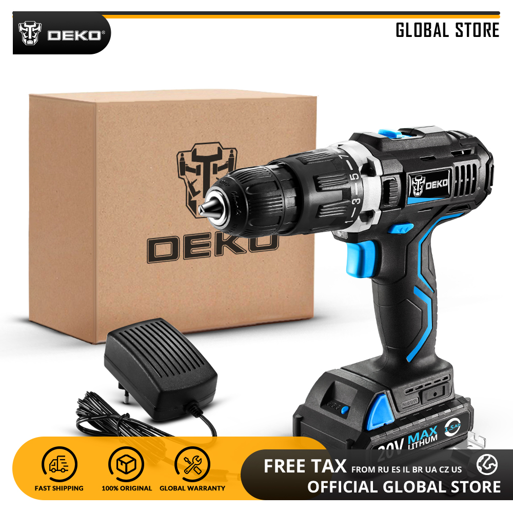 DEKO GCD20DU3 20V MAX Lithium Battery LED Power Driver Variable Speed Electric Screwdriver Impact Cordless Drill Standard Set
