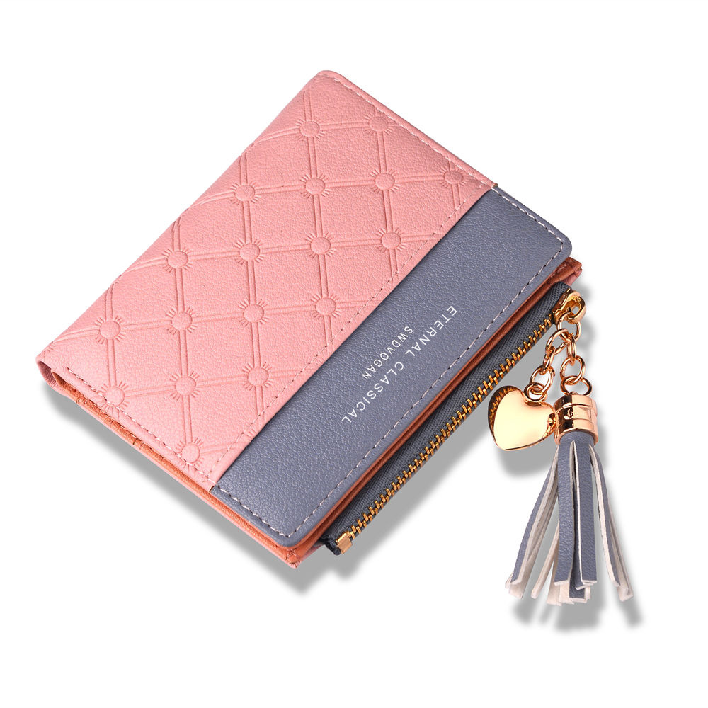 New Korean Women's Short Wallet Stitching Contrast Color Tassel Zipper Multi-card Position(China)
