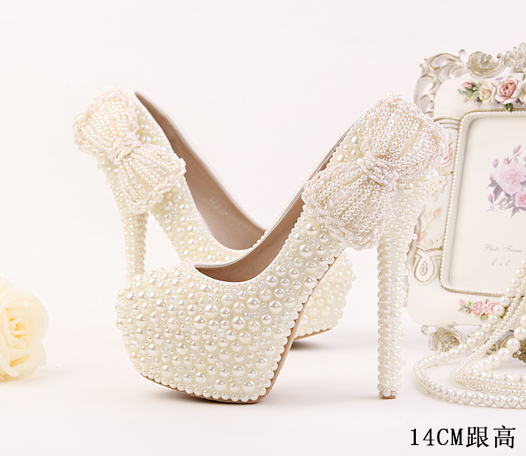 ФОТО 14cm 12cm Super Luxury Crystal High Heels Wedding Shoes White Pearl Bowknot Waterproof Shoes with A Fine Round Bride Dress Shoes