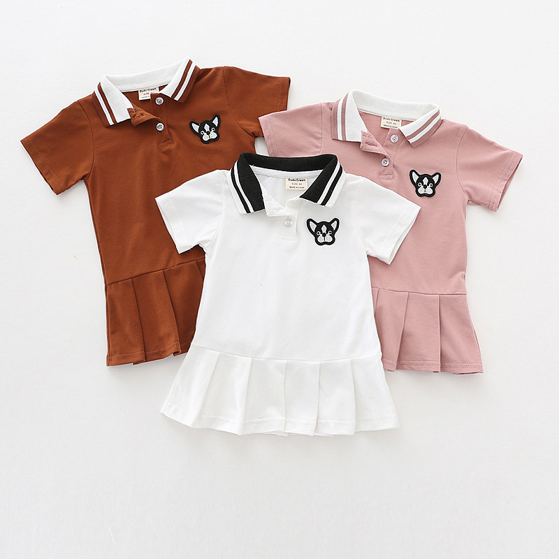 Baby Girl Lapel Embroidery Tennis Dress Summer Children Clothing Cute Pleated Dress Kids Short-sleeve Polo Shirt Dresses Toddler
