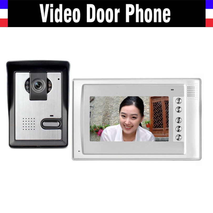 7 inch video door phone doorbell System Video intercom interphone kit IR Night Vision Waterpro 1 Monitor 1 Door Camera for villa