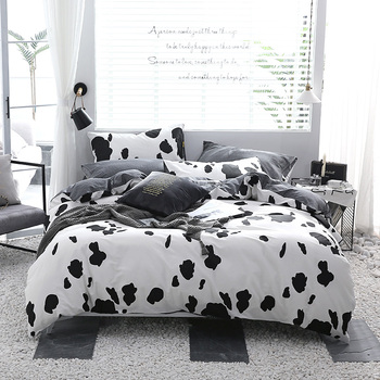 Stilvolle Schwarz Und Weiß Kuh Muster Home Textil 3/4 Pcs Bettwäsche Sets Duvet Abdeckung Bettlaken Kissen Abdeckung baumwolle Herbst Warme Weiche