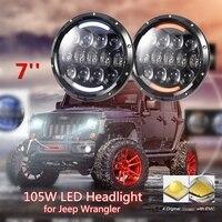2PCS 105W 7 Inch Round LED Headlight For Jeep Wrangler JK TJ CJ