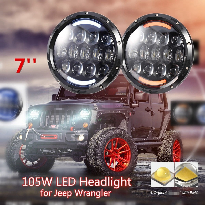 2PCS 105W 7 Inch Round LED Headlight for Jeep Wrangler JK TJ CJ pair 105w 7 inch led headlight for jeep