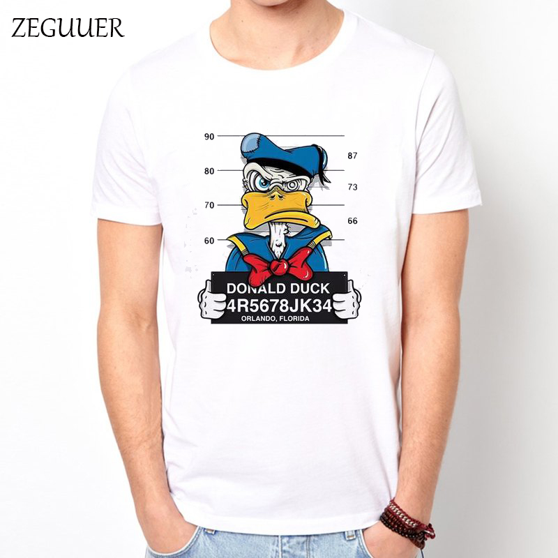 Donald Duck Crime Thug Cartoon Tshirt Harajuku Men's T-shirt Streetwear Print Homme Cotton Round Neck Unisex Casual Clothes
