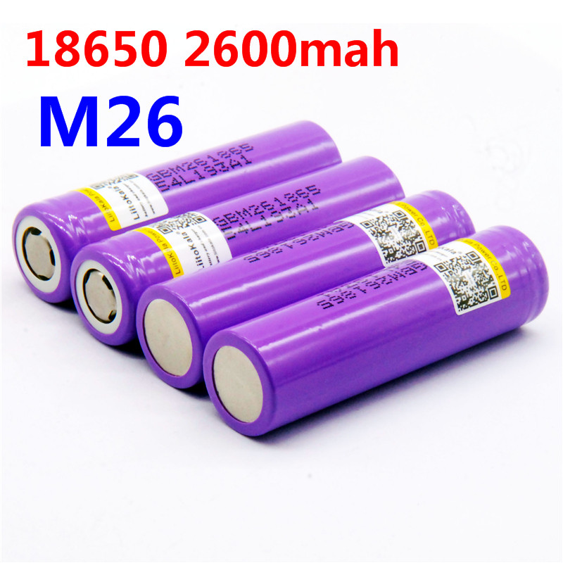 US $2 65 26% OFF|LiitoKala 100% original for M26 18650 10A 18650 li ion  rechargeable 2600 mah power battery backup for ecig / scooter-in  Rechargeable